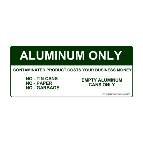 Aluminum Only Recycling Sign